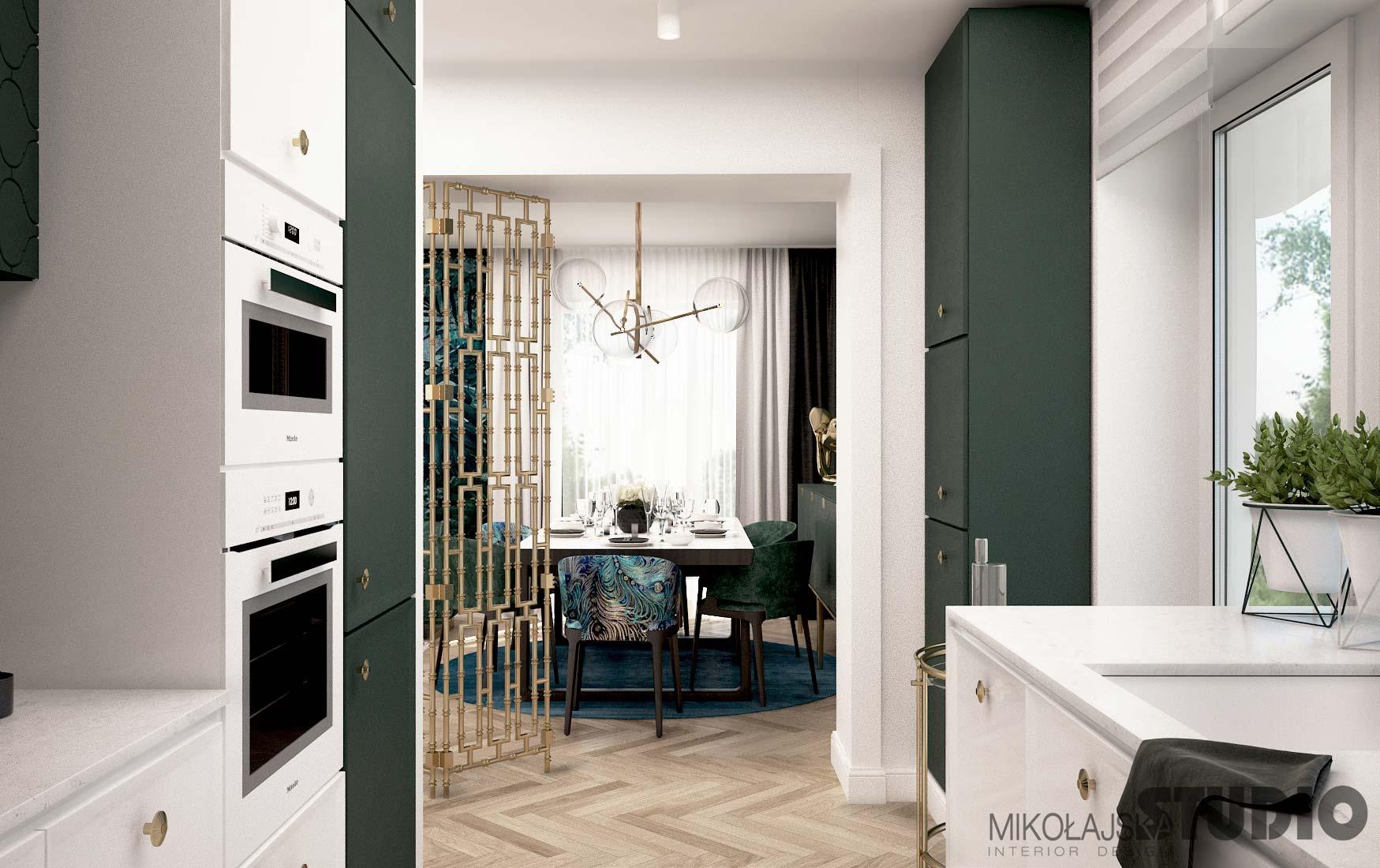 nowoczesna kuchnia w bieli i zieleni