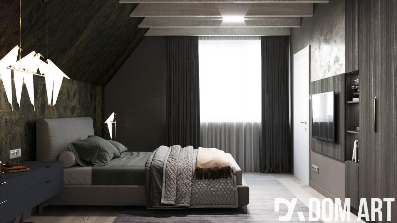ciemna sypialnia z drewnianą ścianą