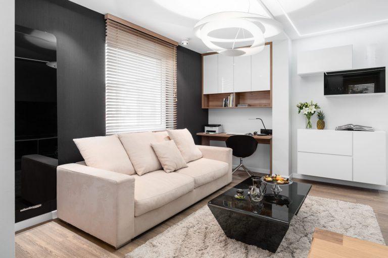 czarno bialy salon w stylu nowoczesnym