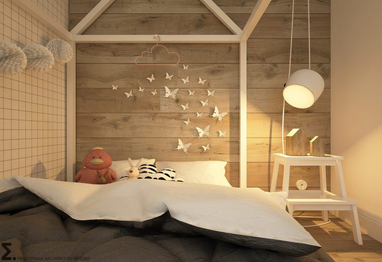drewniane panele w skandynawskim pokoju dzieciecym