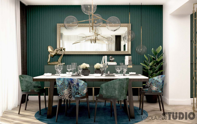 eklektyczny salon w zieleniach