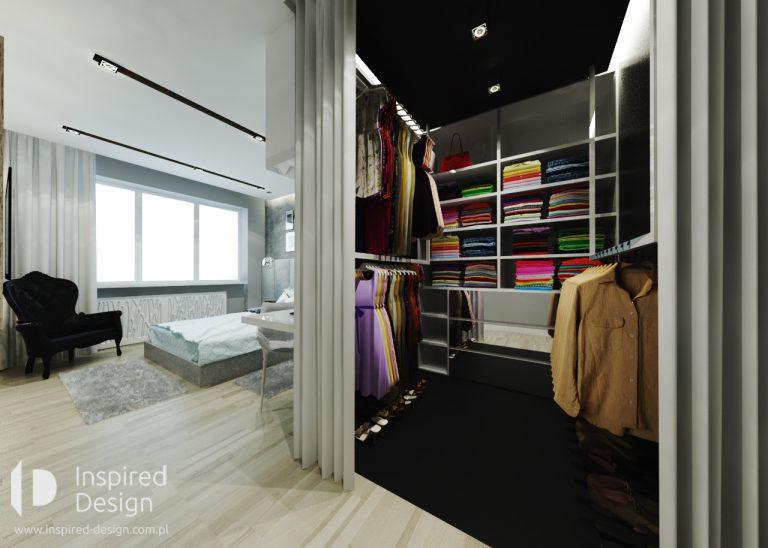 garderoba przy sypialni za zaslona
