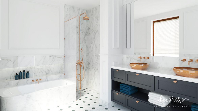 klasyczna łazienka z umywalką nablatową