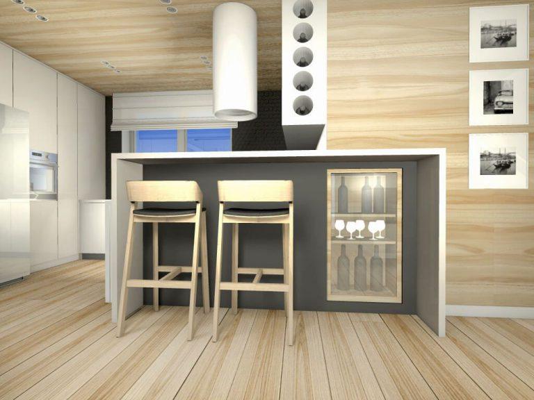 Joanna Zaszczudlowicz » Mieszkanie z drewnem i szarą cegłą