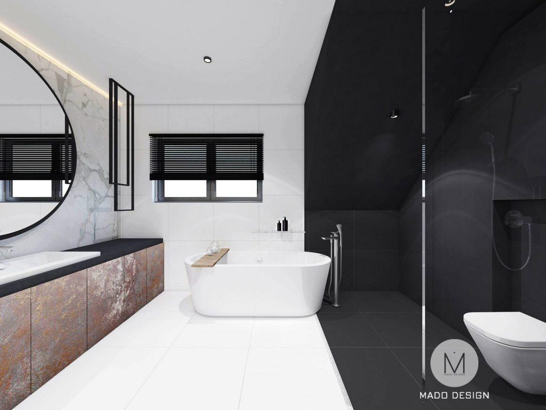 Mado Design Projekt Czarno Białej łazienki Libertów M