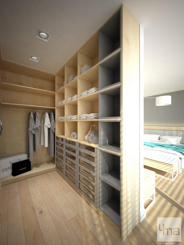 mala garderoba przy nowoczesnej sypialni