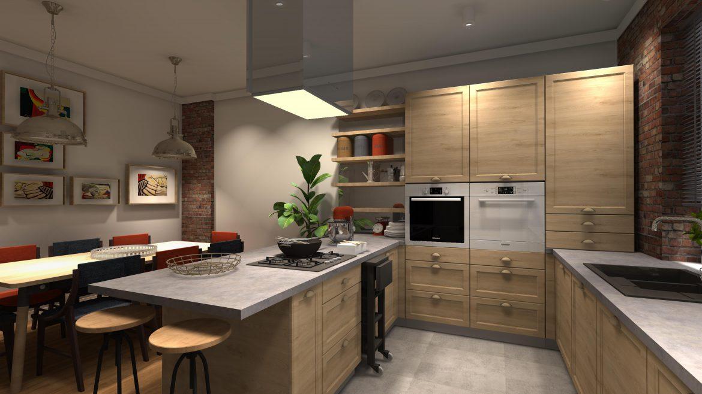 matowe szare płytki w kuchni