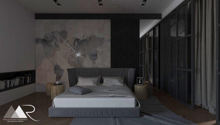 minimalistyczna sypialnia z garderoba w ciemnych kolorach