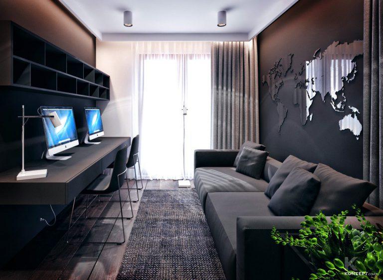nowoczesne biuro w ciemnych kolorach