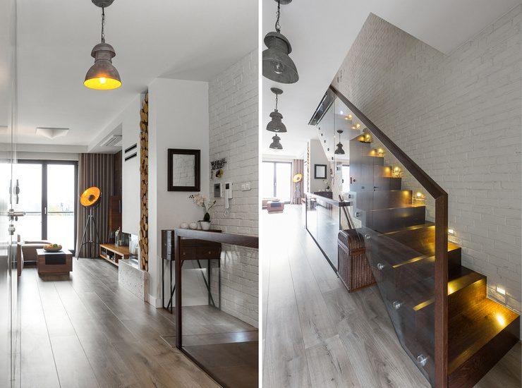 nowoczesne schody z punktowym podswietleniem