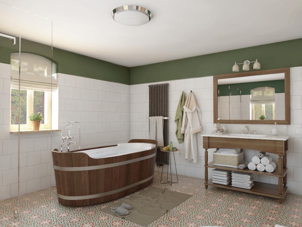 rustykalna łazienka z wanną wolnostojącą