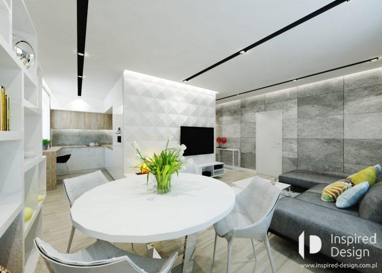 salon z jadalnia ze sciana z paneli 3D