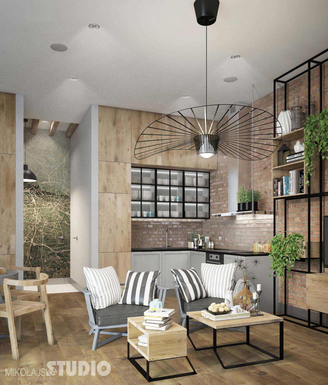 salon z kuchnia w stylu industrialnym