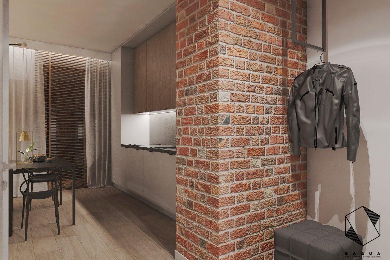 ściana z cegły w małym przedpokoju