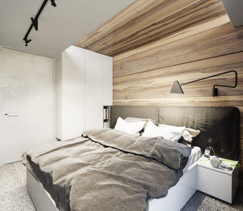 skandynawska sypialnia ze sciana w drewnie