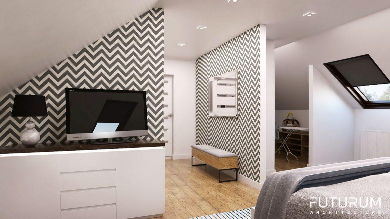 sypialnia na poddaszu z garderoba